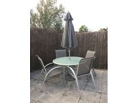 Garden furniture. Modern table 4 chairs & parasol