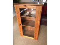 Pine corner cabinet with glass door
