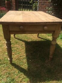 Victorian Pine Table with drawer