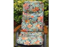 2 x Removable Deluxe Padded Garden Chair Cushions - Tropical Design