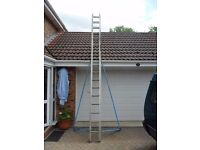 Youngs 17 rung Double Ladder with adjustable side outriggers