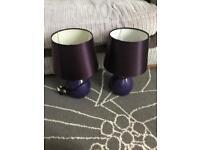 2 x purple lamps