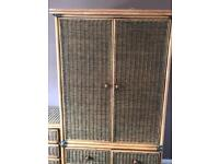 Cane bedroom furniture x4 pieces wardrobes and chest of drawers