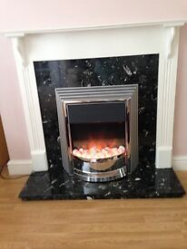 Electric Fire with Black and white marble hearth, Solid wood surround painted white, very good cond.