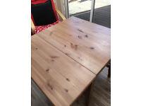 drop down folding leaf table plus 2 wicker chairs