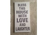 'Bless this house with love and laughter' Canvas