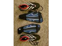 Astroturf football boots and shinpads