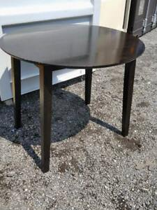 "Oakville Small 23 to 35"" Solid Wood KITCHEN TABLE Drop Leaf Black Brown Tiny space Dining"