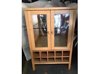 Solid oak drinks wine cabinet cupboard kitchen storage
