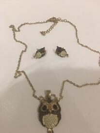 Owl necklace and earrings