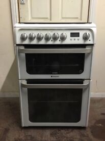 Hotpoint dual fuel gas cooker HUD61 60cm FSD double oven 3 months warranty free local delivery!!!!