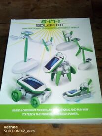 6 in 1 Solar kit. Makes 6 different solar powered models. New and unused.