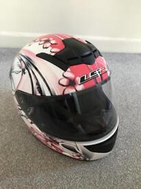 LS2 Pink Crash Helmet Size Small