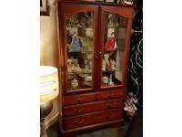 Redwood display unit and table and 4 chairs