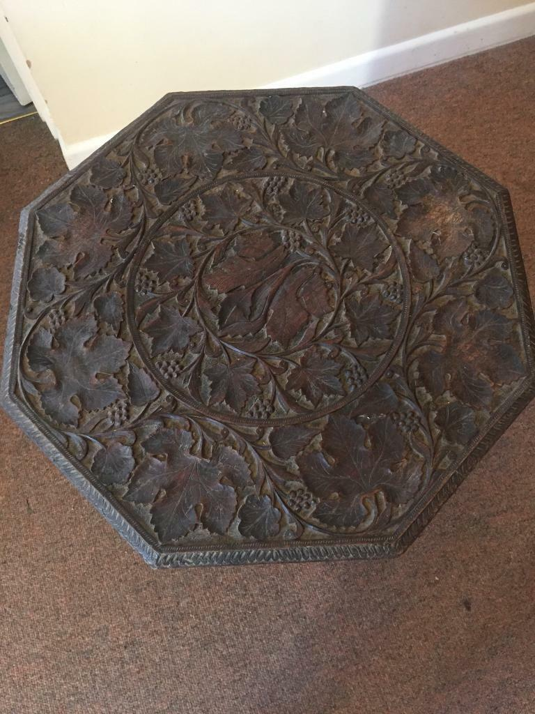 Anglo Islamic wood carved folding hexagonal table