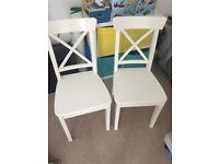 2 x white INGOLF IKEA dining chairs