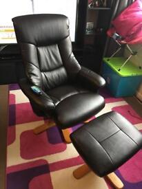 Reclining massage chair and stool as new