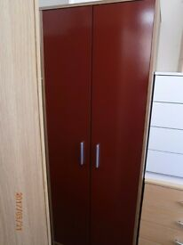 NEW Walnut Effect and Red 2 Door Wardrobe.