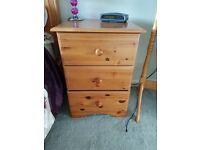 5 x items of solid wood dark pine bedroom furniture