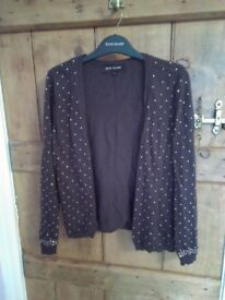 'River Island' brown cardigan with gold studs.