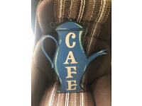 Double sided wood and metal cafe sign