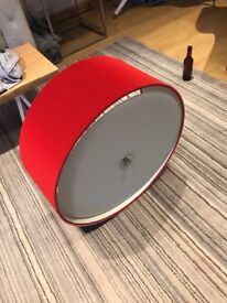 Light fitting 60cm with corrugated red outer and glass base cost £240 new