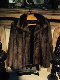 Brown fur coat-thigh length size 14-16 think its mink. 1950-60s