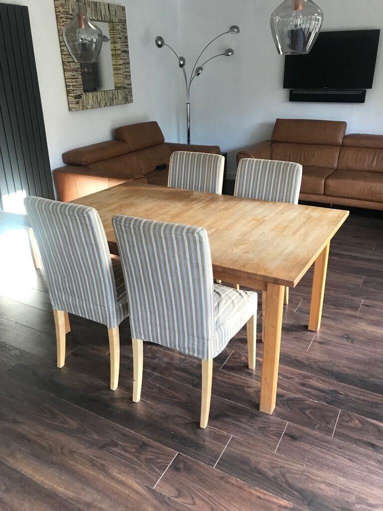 Tremendous Ikea Extendable Solid Beech Wood Dining Table With 4 Chairs Frankydiablos Diy Chair Ideas Frankydiabloscom