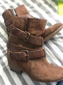 Dune dark tan suede boots size 5