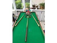 Snooker table with pool balls