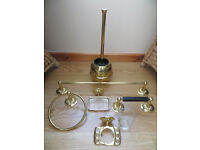 Complete set of M&S brass bathroom fittings (including mirror) in excellent condition