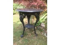 Cast iron Victorian style marble top garden table