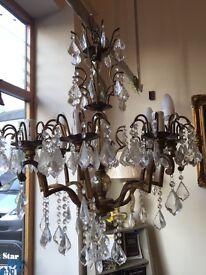 Stunning 8 arm crystal vintage chandelier