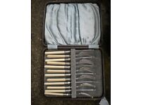 A EDWARDIAN FISH KNIFE AND FORK SET IN BOX