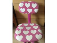 Pink and white hearts swivel chair on wheels, perfect for any girls room
