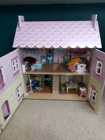 Beautiful dolls house with furniture, car & family