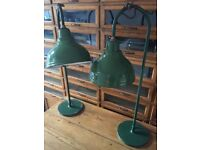 2 Goose Swan Neck Industrial Lamp Light Antique Factory Vintage Desk Table Green Lamps
