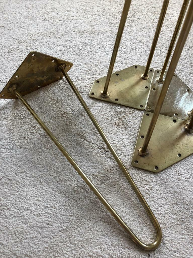 4 X Antique Gold Hairpin Coffee Table Legs In Beccles Suffolk Gumtree