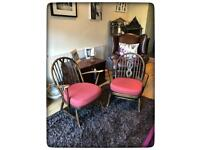 Pair of Vintage Ercol Dark Stained Beech Armchairs