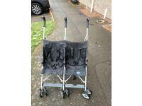 Lightweight double pushchair stroller