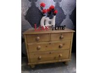 Stunning Shabby Chic Vintage Pine Chest of Drawers - UK Delivery