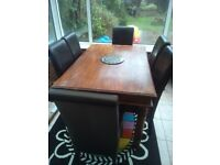 Dining table (solid wood) & six leather chairs