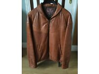 Leather Jacket for men. Size 42 chest. Soft tan leather