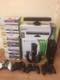 XBOX 360 S BLACK KINECT and 86 GAMES!