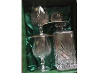 Cuchulainn Crystal Eimear Decanter and 2 Brandy Glasses New in box