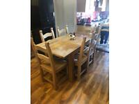Solid oak extending table 6 chairs
