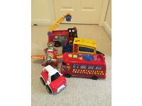Trucks & Vehicles Bundle - includes ELC Fire Engine, Phonics Bus, Fisher Price Truck, Aeroplane