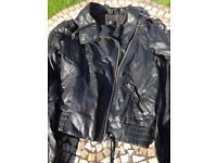 Faux leather jacket black size 10 Topshop