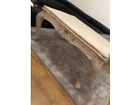 Coffee table and side table, cream French style, carved wood