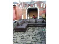 Free delivery+brown leather Corner sofa